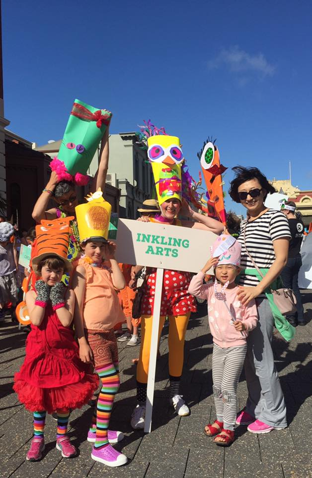 Rainbow animals at the Fremantle festival street parade.